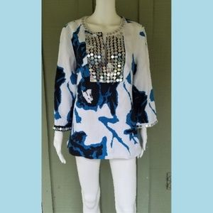 TORY BURCH Dulce Blue White Linen Tunic Mirror
